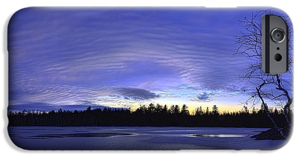 Snow Scene iPhone Cases - Purple Twilight Panorama iPhone Case by Bill Caldwell -        ABeautifulSky Photography