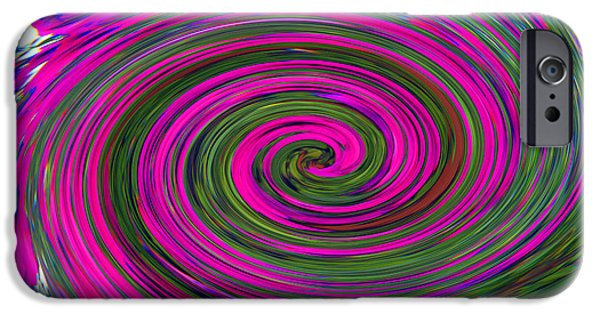 Abstract Digital Art iPhone Cases - Purple Twirl iPhone Case by Tina M Wenger