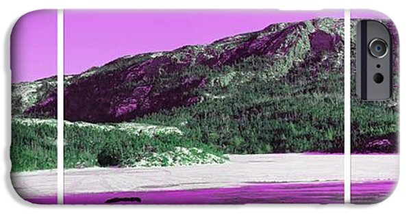 Interior Scene iPhone Cases - Purple Winter Triptych iPhone Case by Barbara Griffin