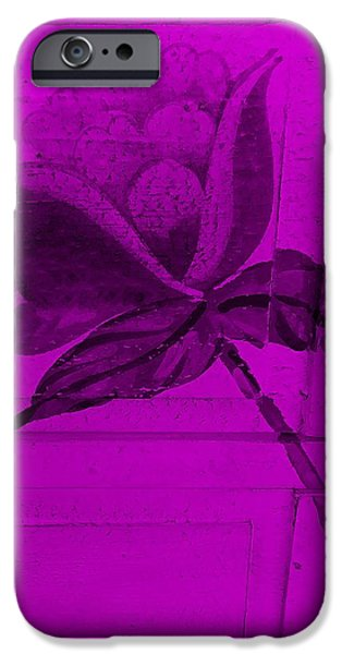 Botanic Illustration Digital Art iPhone Cases - Purple Wood Flower iPhone Case by Rob Hans
