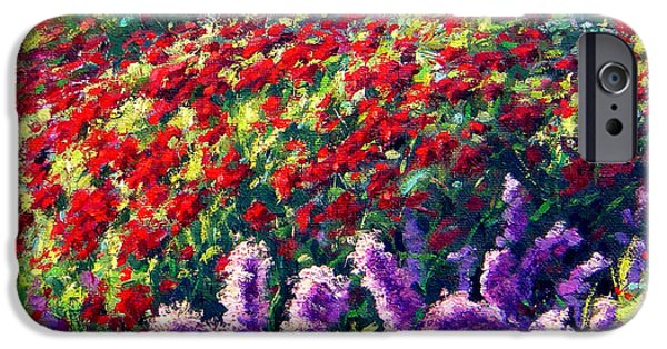 Garden Scene Paintings iPhone Cases - Purrple Liatris and Red BeeBom iPhone Case by Rick Hansen