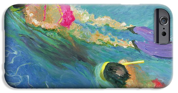 Swimming iPhone Cases - Pursuit, 2005 Oil On Board iPhone Case by William Ireland