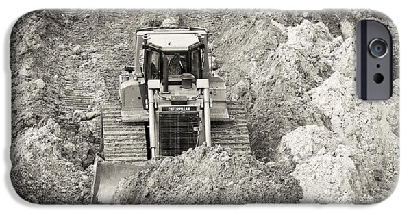 Caterpillar iPhone Cases - Pushing Dirt iPhone Case by Patrick M Lynch