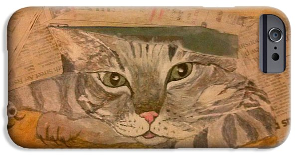 Michelle Mixed Media iPhone Cases - Pussy Cats Play Day iPhone Case by Michelle Reid