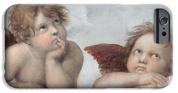 Ledge iPhone Cases - Putti detail from The Sistine Madonna iPhone Case by Raphael