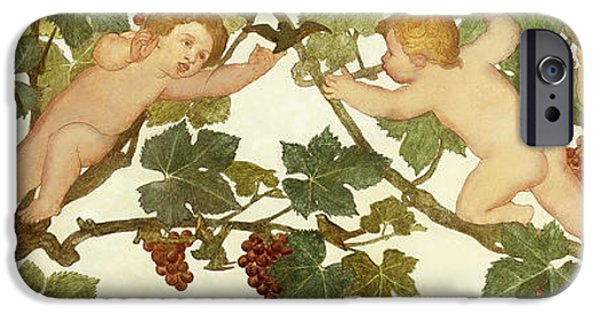 Young Paintings iPhone Cases - Putti Frolicking in a Vineyard iPhone Case by Phoebe Anna Traquair