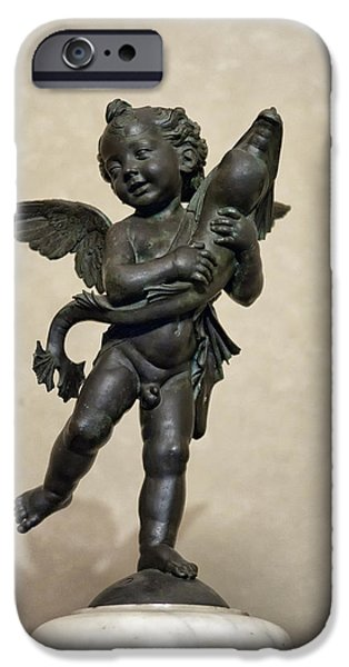 Putto With Dolphin by Verrocchio iPhone Case by Melany Sarafis