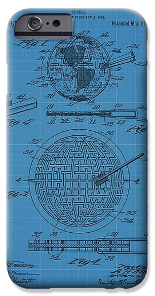Connect Mixed Media iPhone Cases - Puzzle Blueprint Patent iPhone Case by Dan Sproul