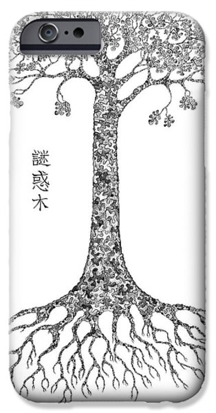 Buddhism Drawings iPhone Cases - Puzzle Tree iPhone Case by Robert May