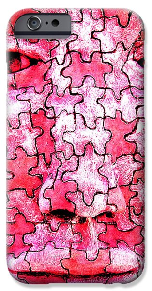 Line Sculptures iPhone Cases - Puzzled Man iPhone Case by M Pace