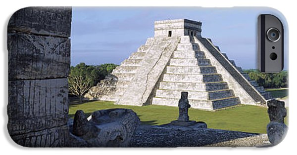 Built Structure iPhone Cases - Pyramid In A Field, El Castillo iPhone Case by Panoramic Images