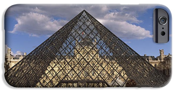 Art Of Building iPhone Cases - Pyramid In Front Of A Building, Louvre iPhone Case by Panoramic Images