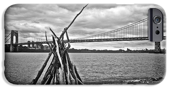 Hudson River iPhone Cases - Pyre at the Bridge iPhone Case by Mark Miller