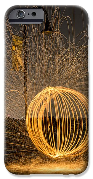 Night Lamp iPhone Cases - Pyrotechnics iPhone Case by Susan Candelario