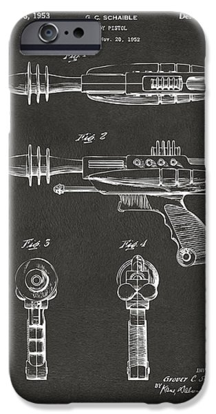 Futuristic iPhone Cases - Pyrotomic Disintegrator Pistol Patent Gray iPhone Case by Nikki Marie Smith