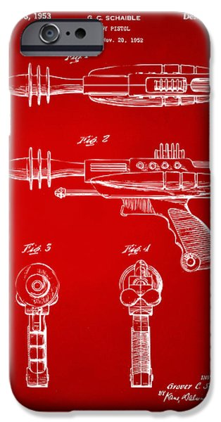 Futuristic iPhone Cases - Pyrotomic Disintegrator Pistol Patent Red iPhone Case by Nikki Marie Smith