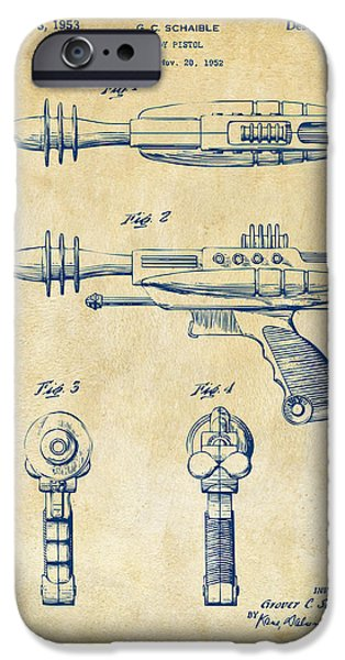Futuristic iPhone Cases - Pyrotomic Disintegrator Pistol Patent Vintage iPhone Case by Nikki Marie Smith