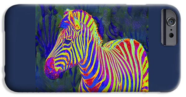 Zebra Digital Art iPhone Cases - Pyschedelic Zebra iPhone Case by Jane Schnetlage