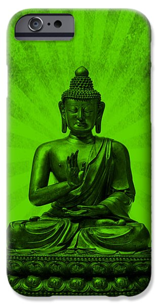 Michelle Mixed Media iPhone Cases - Q Buddha iPhone Case by Michelle Dallocchio