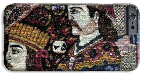 Persian Carpet iPhone Cases - Qajar portraits Photos of Persian Antique Rugs Kilims Carpets  iPhone Case by Persian Art
