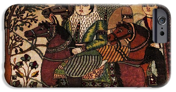 Persian Carpet iPhone Cases - Qajar woman on horse Photos of Persian Antique Rugs Kilims Carpets  iPhone Case by Persian Art