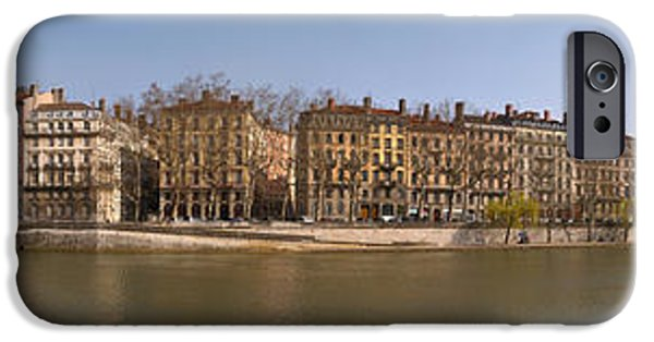 Rhone Alpes iPhone Cases - Quai Du Marechal Joffre Along The Saone iPhone Case by Panoramic Images