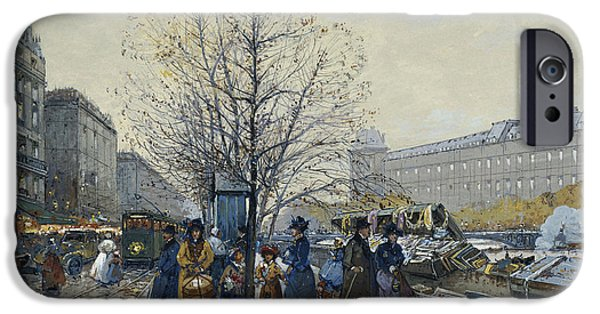 Jacques Lieven iPhone Cases - Quai Malaquais Paris iPhone Case by Eugene Galien-Laloue