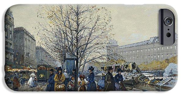 19th Century Paintings iPhone Cases - Quai Malaquais Paris iPhone Case by Eugene Galien-Laloue