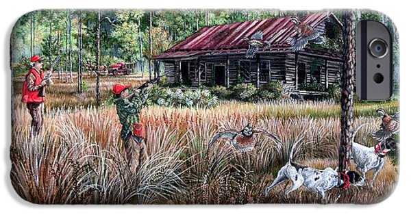 Dogs iPhone Cases - Quail Hunting- On Familiar Ground iPhone Case by Daniel Butler