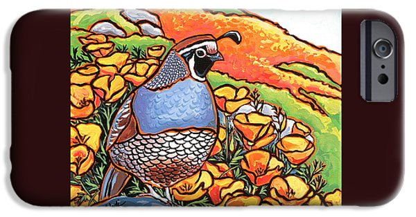 Nadi Spencer iPhone Cases - Quail Poppies iPhone Case by Nadi Spencer