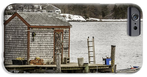 Recently Sold -  - Wintertime iPhone Cases - Quaint Fishing Shack New Hampshire iPhone Case by Laura Duhaime