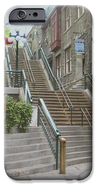Ann Powell iPhone Cases - quaint  street scene  photograph THE BREAKNECK STAIRS of QUEBEC CITY   iPhone Case by Ann Powell