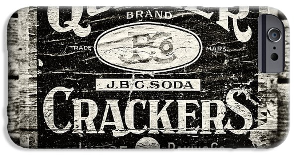 Quaker iPhone Cases - Quaker Crackers Rustic Sign for Kitchen in Black and White iPhone Case by Lisa Russo