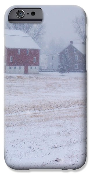 Quakertown Farm on Snowy Day iPhone Case by Anna Lisa Yoder