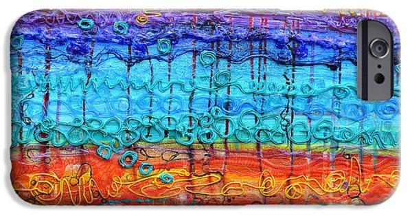 Abstract Reliefs iPhone Cases - Quantum Cascade iPhone Case by Regina Valluzzi