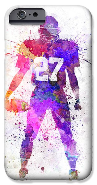 American Football Paintings iPhone Cases - Quarterback American Football Player Man iPhone Case by Pablo Romero
