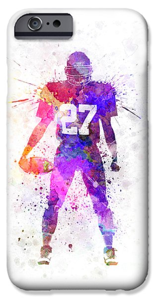 Cut-outs Paintings iPhone Cases - Quarterback American Football Player Man iPhone Case by Pablo Romero