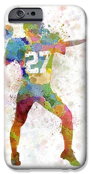 American Football Paintings iPhone Cases - Quarterback American Throwing Football Player Man iPhone Case by Pablo Romero