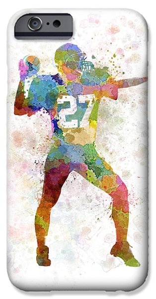 Cut-outs Paintings iPhone Cases - Quarterback American Throwing Football Player Man iPhone Case by Pablo Romero