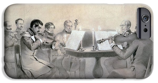 1870 iPhone Cases - Quartet Of The Composer Count A. F. Lvov, 1840 Pencil On Paper iPhone Case by R. Rorbach