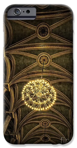 Hdr Look iPhone Cases - Quebec City Canada Ornate Grand Hall or Church Ceiling iPhone Case by Edward Fielding