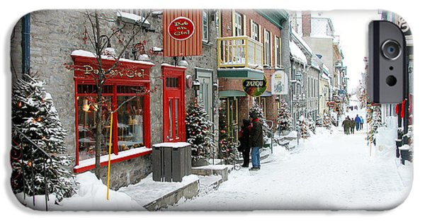 French Signs iPhone Cases - Quebec City in Winter iPhone Case by Thomas R Fletcher