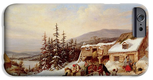 White Christmas iPhone Cases - Quebec iPhone Case by Cornelius Krieghoff