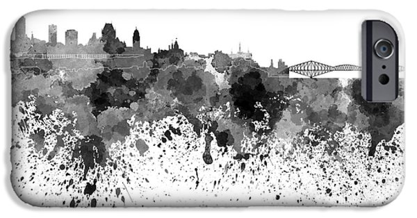Quebec Paintings iPhone Cases - Quebec skyline in black watercolor on white background iPhone Case by Pablo Romero
