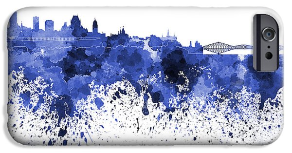 Quebec Paintings iPhone Cases - Quebec skyline in blue watercolor on white background iPhone Case by Pablo Romero