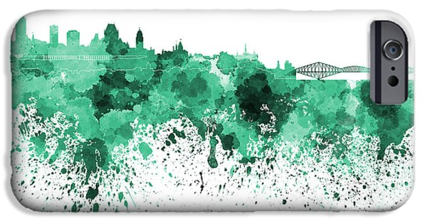 Quebec Paintings iPhone Cases - Quebec skyline in green watercolor on white background iPhone Case by Pablo Romero