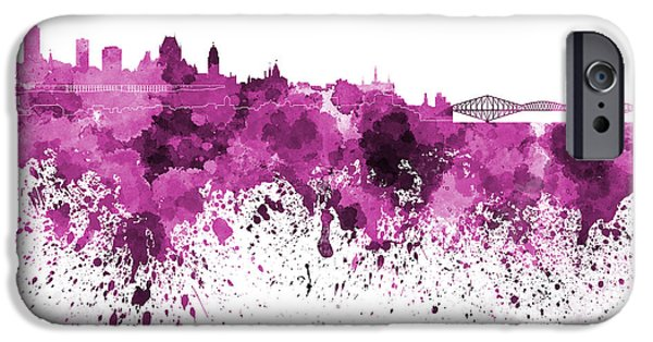 Quebec Paintings iPhone Cases - Quebec skyline in pink watercolor on white background iPhone Case by Pablo Romero