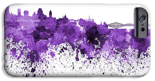 Quebec Paintings iPhone Cases - Quebec skyline in purple watercolor on white background iPhone Case by Pablo Romero