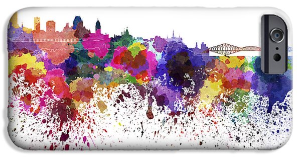 Quebec Paintings iPhone Cases - Quebec skyline in watercolor on white background iPhone Case by Pablo Romero