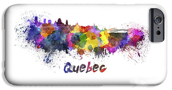 Quebec Paintings iPhone Cases - Quebec skyline in watercolor iPhone Case by Pablo Romero